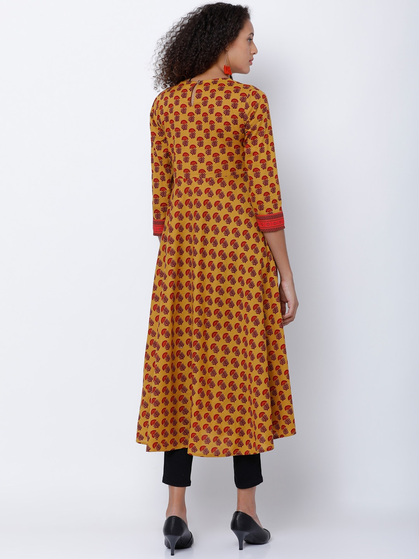 Vishudh Women Mustard & Red Printed Anarkali Kurta