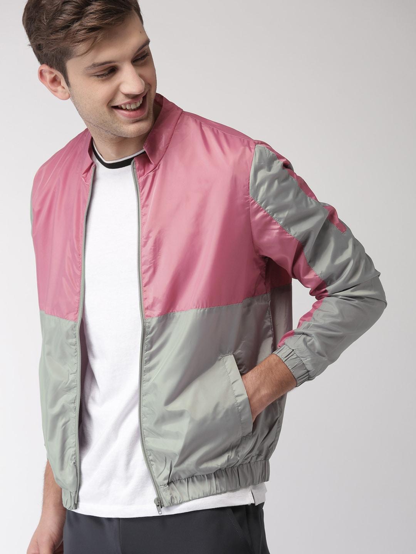 e09256367 Mast & Harbour Men Grey & Pink Colourblocked Sporty Jacket