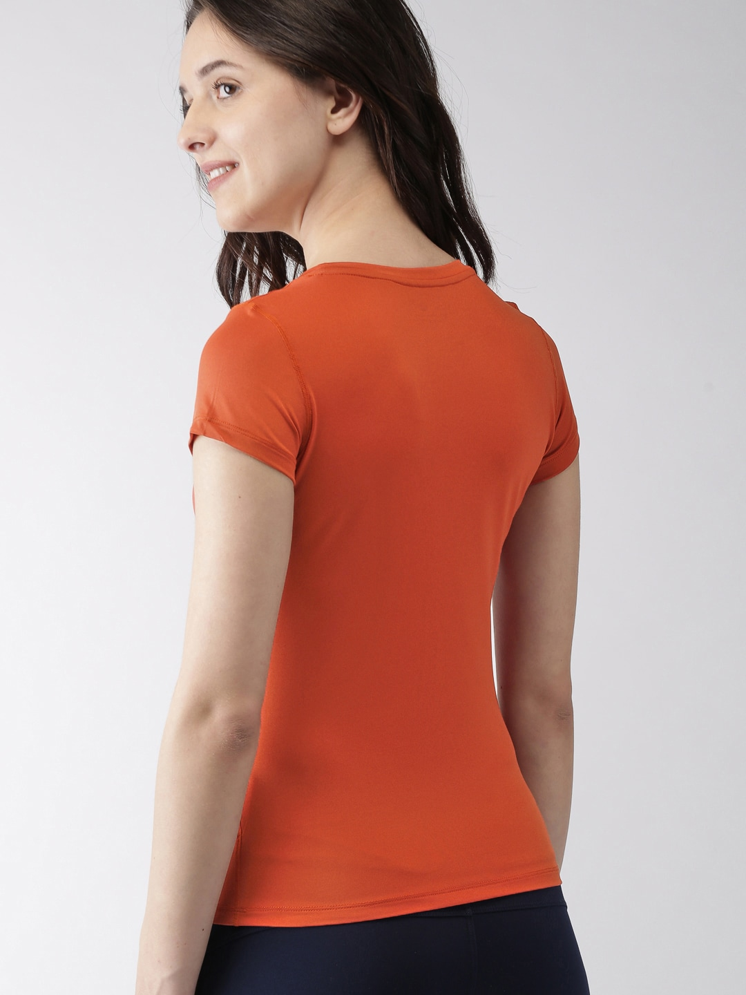 Mast & Harbour Women Orange Short Sleeves Solid T-Shirt