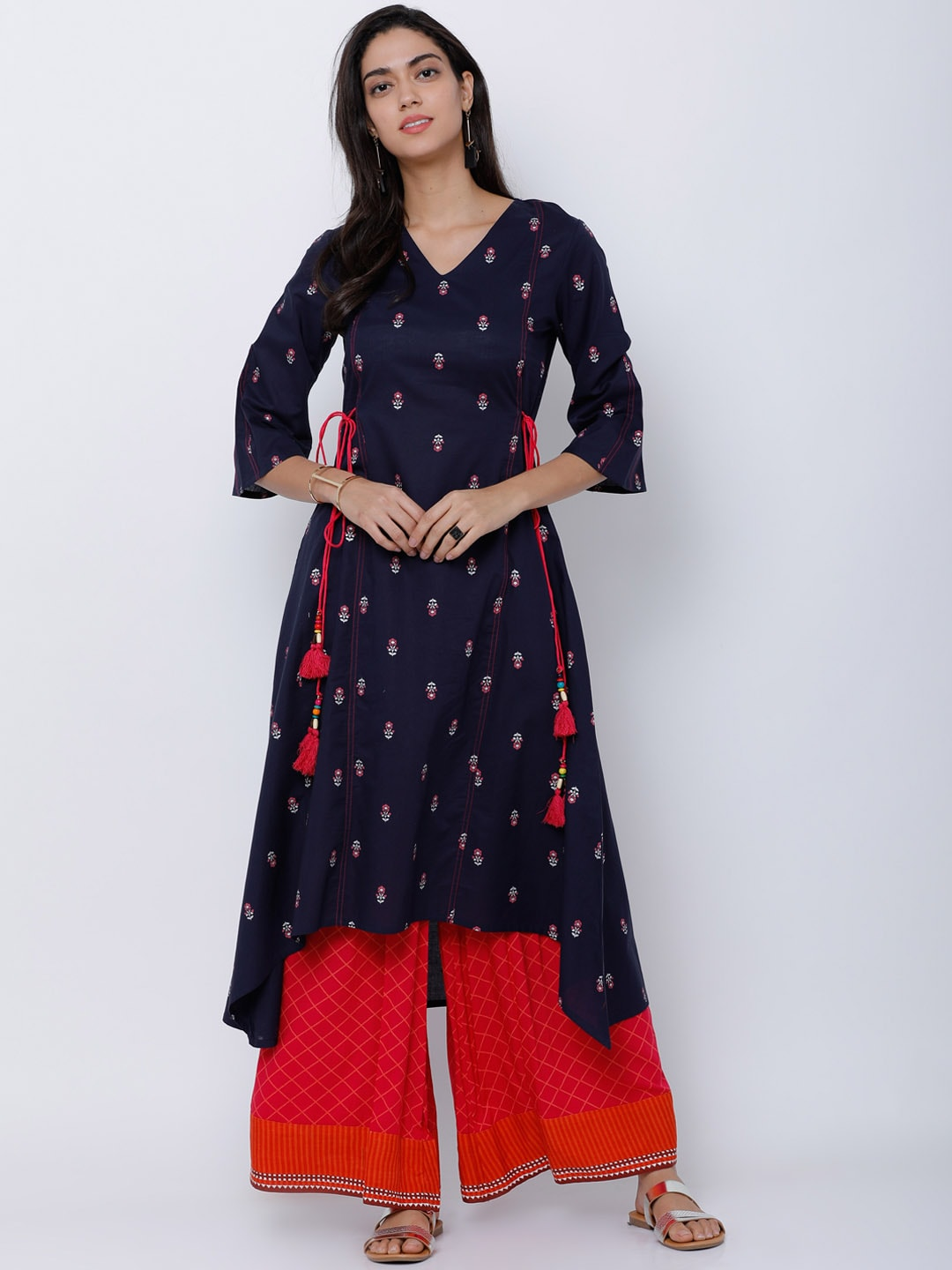 9a6fd633488 Vishudh Navy Blue Blue Kurtas - Buy Vishudh Navy Blue Blue Kurtas online in  India