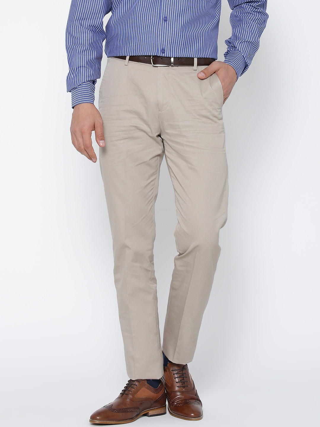 U S  Polo Assn  Men Beige Tapered Fit Trousers