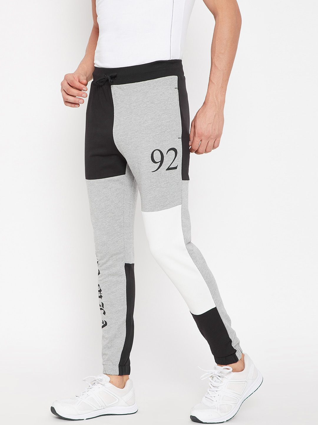 CAMLA Grey Melange & Black Colourblocked Joggers