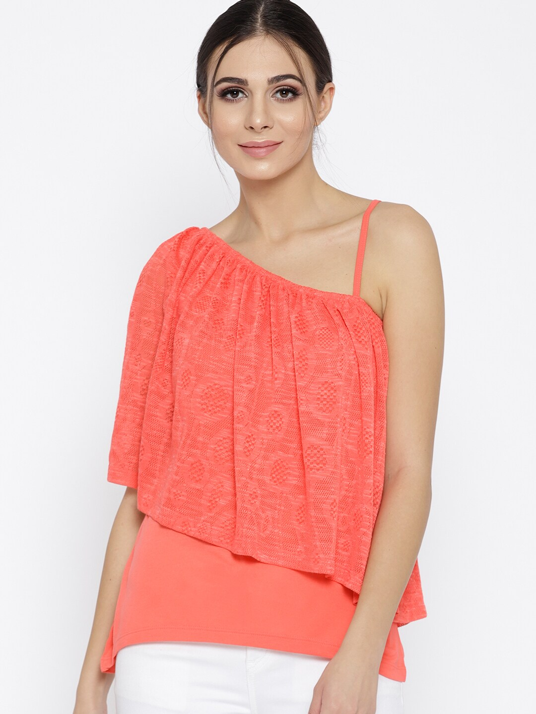 8bf01f81056 Lee Cooper Women Coral Red Lace Top