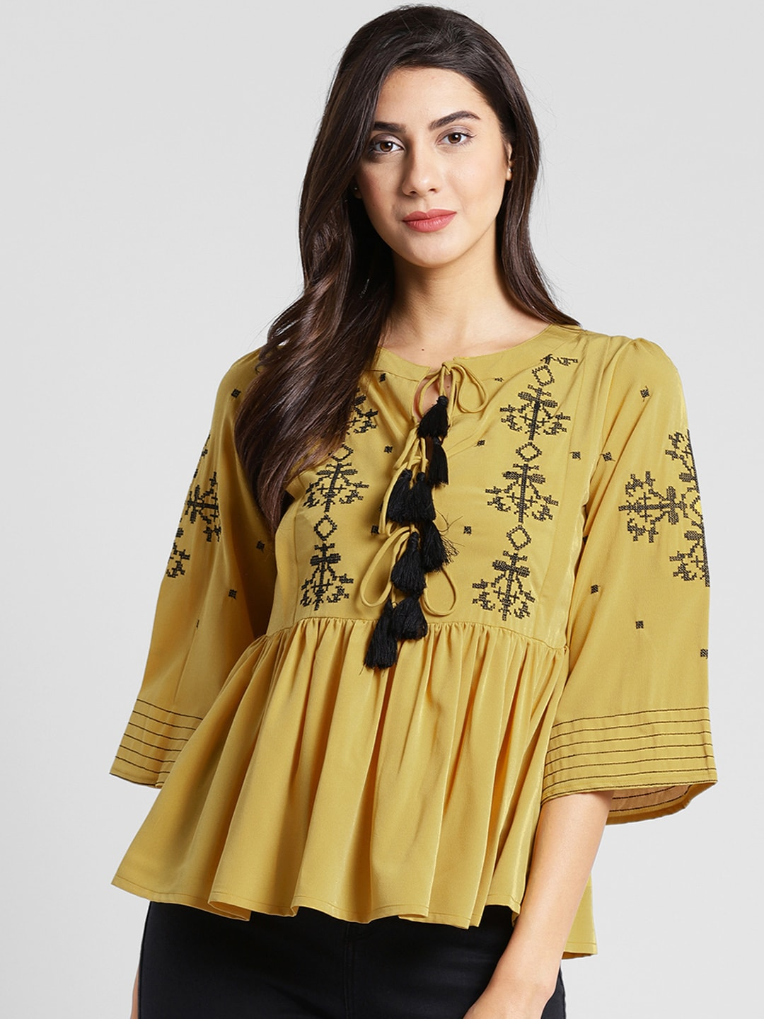 plusS Women Mustard Brown Embroidered A-Line Top