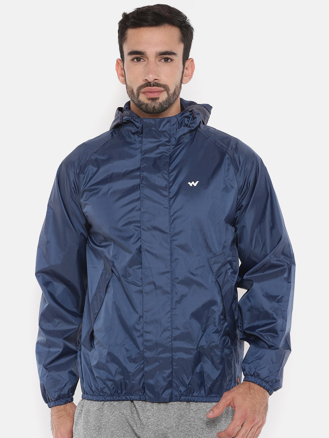 34edc90c0 Wildcraft Men Navy Blue Solid Waterproof Hooded Rain Jacket