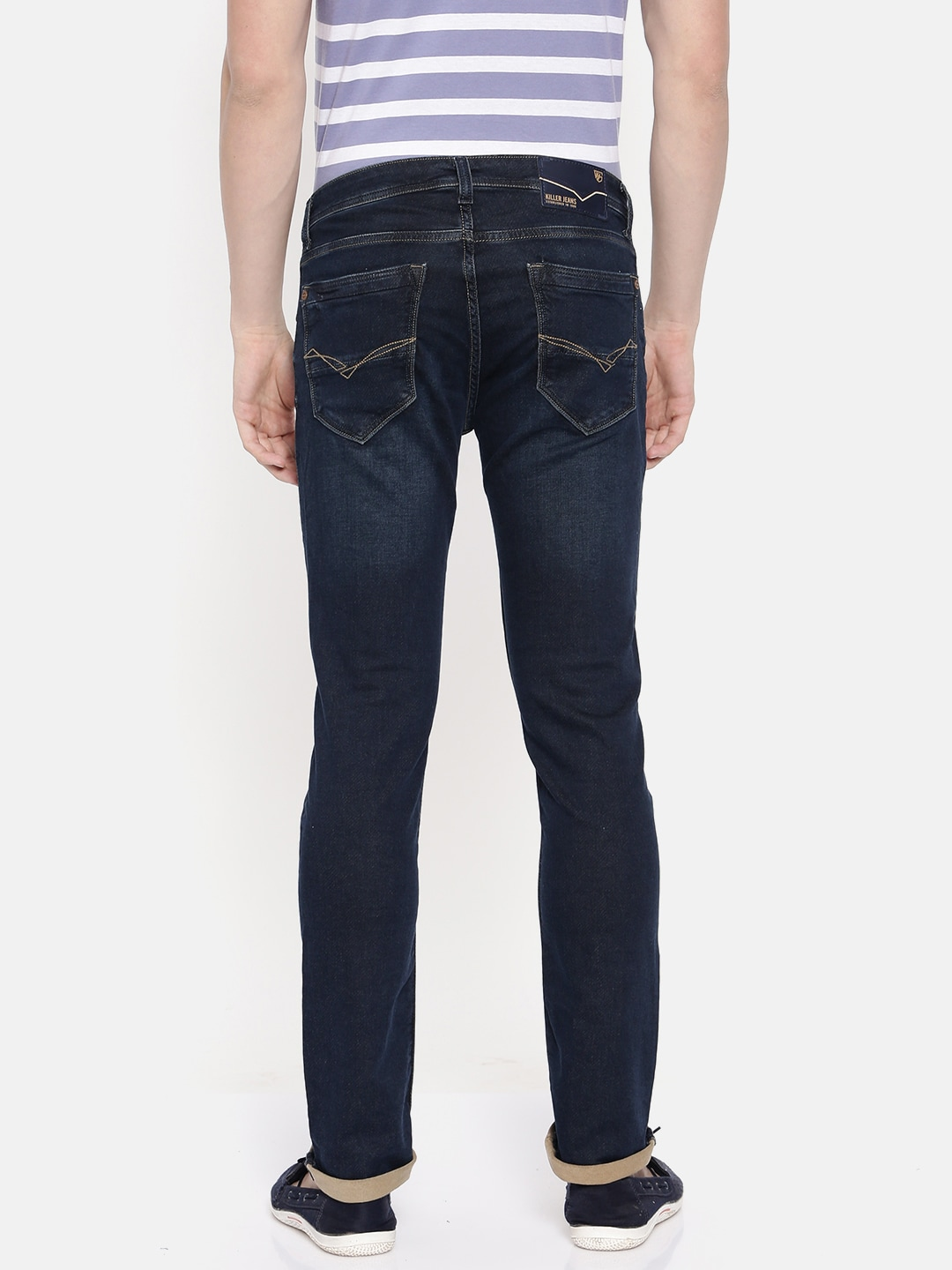 Killer Men Blue Slim Fit Mid-Rise Clean Look Stretchable Jeans
