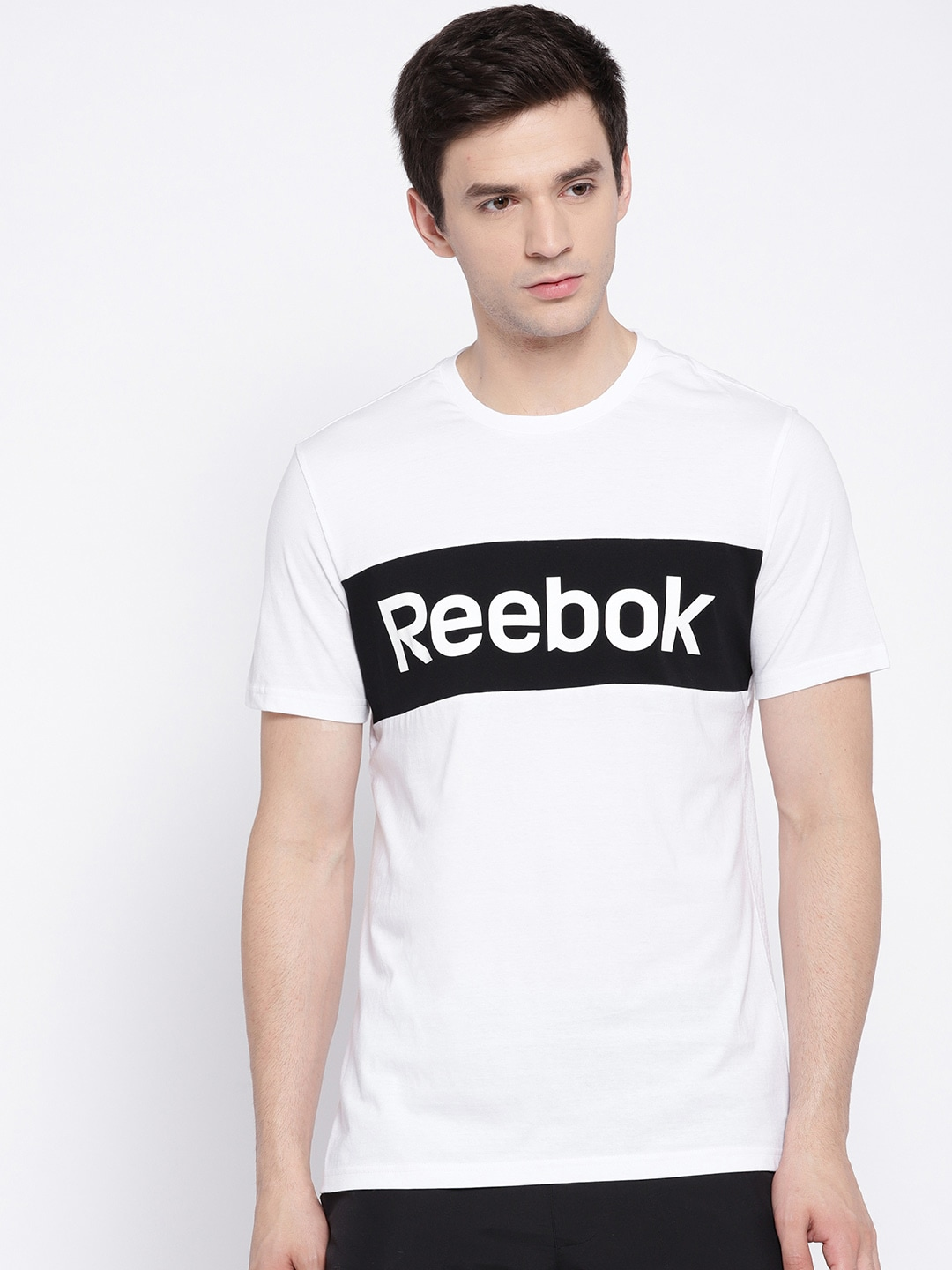 644a91d71b Reebok Men White CS Brand Graph Printed Round Neck T-shirt