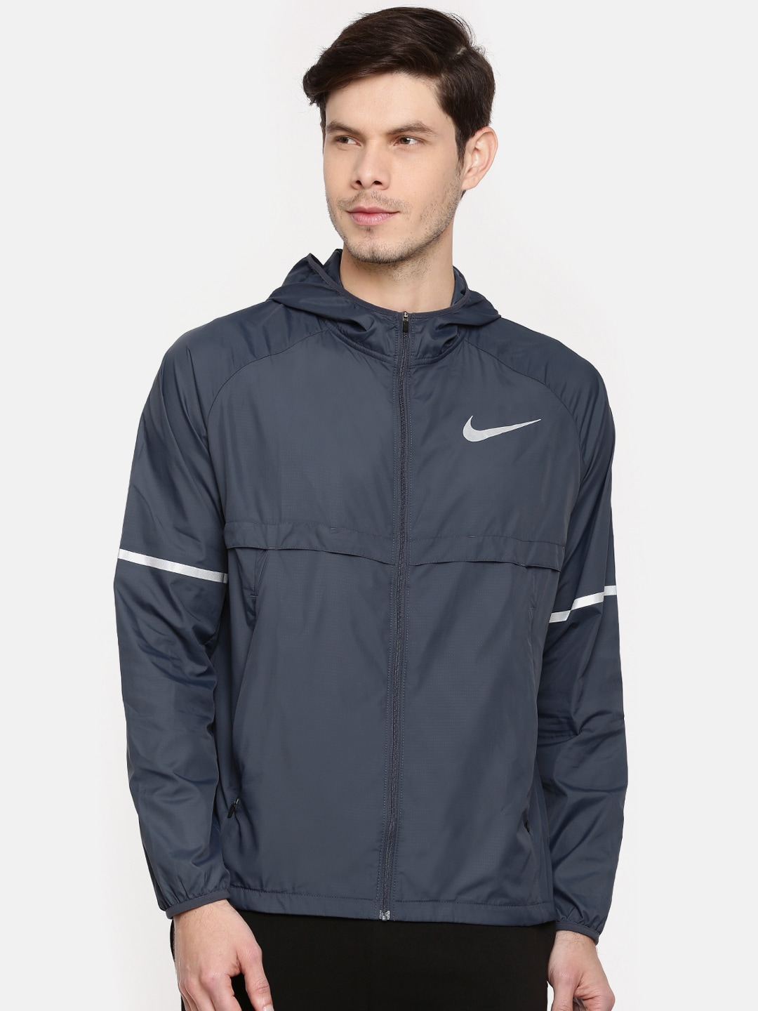 e8fea8102 Nike Men Navy Solid Shield Hooded Running Jacket
