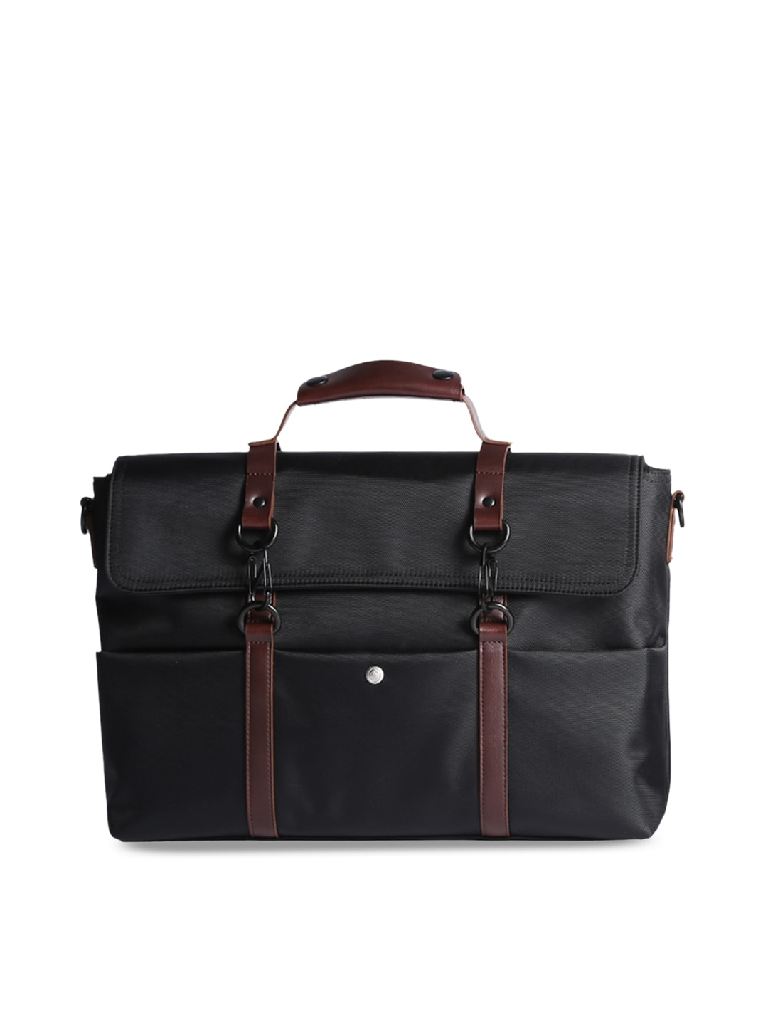 b1386705355c scarters Unisex Black & Brown Solid Laptop Bag