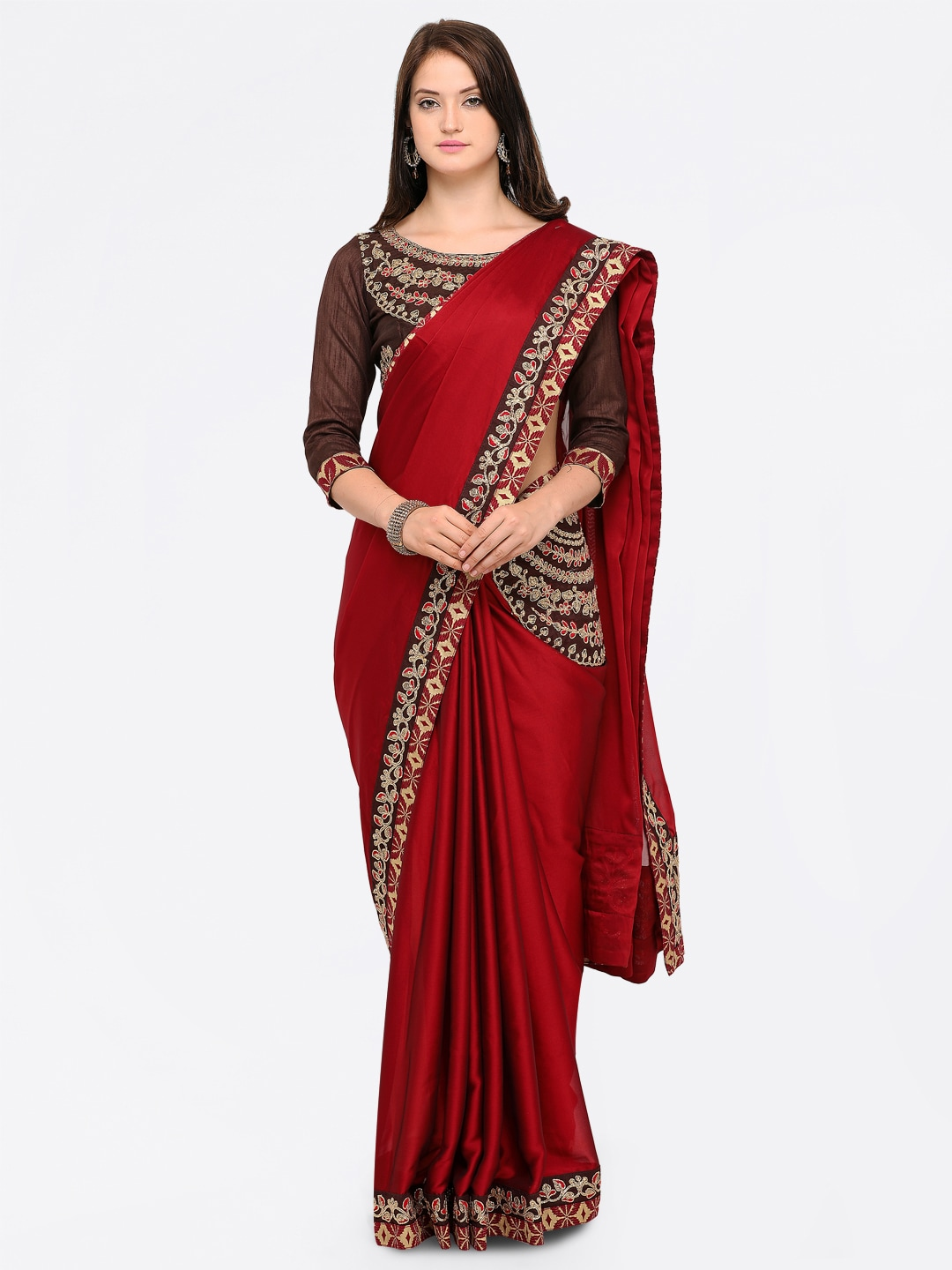1743a94579d Maroon Saree - Buy Maroon Sarees Online in India