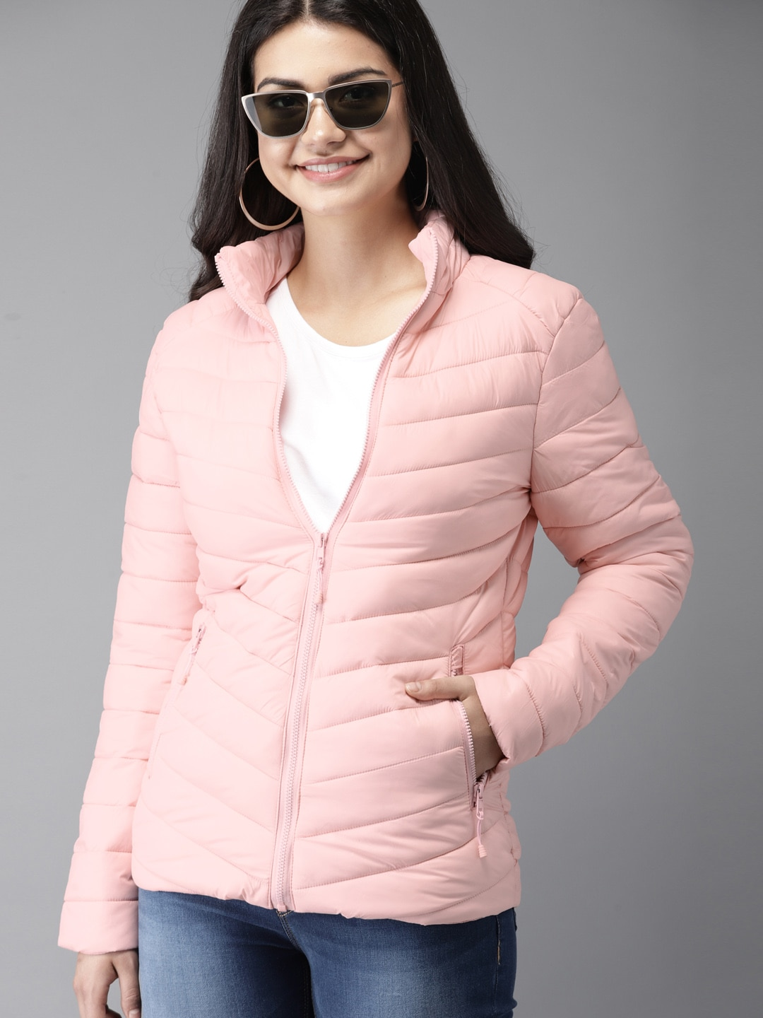 e38912fc9 HERE&NOW Women Pink Solid Puffer Jacket