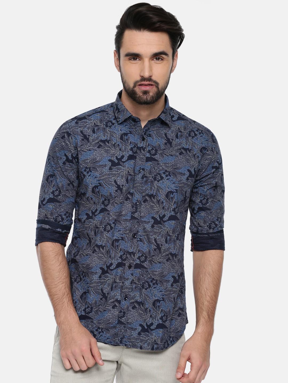 Killer Men Navy Blue Slim Fit Printed Casual Shirt