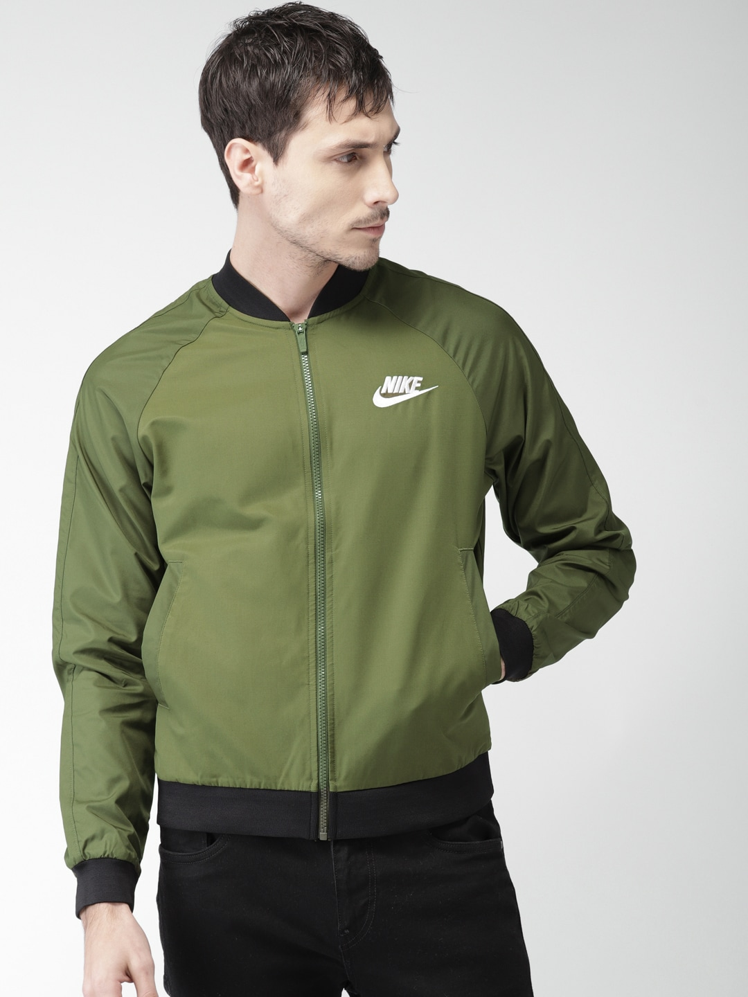 dab64319f Nike Men Olive Green AS M NSW JKT WVN PLAYERS Bomber Jacket