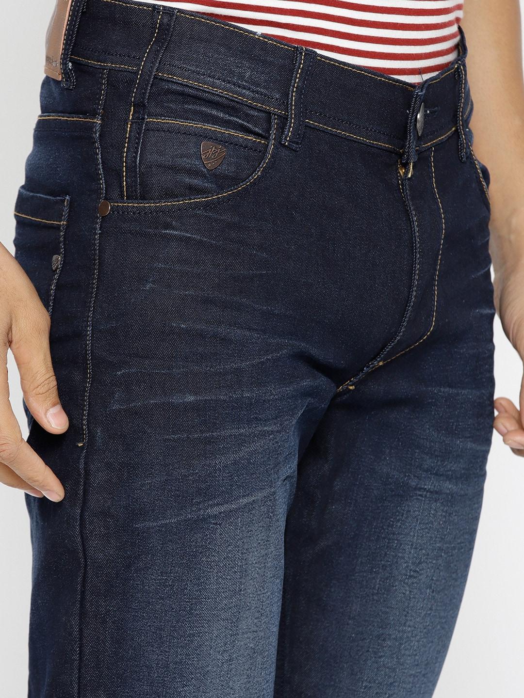 John Players Men Navy Blue Slim Fit Mid-Rise Clean Look Jeans