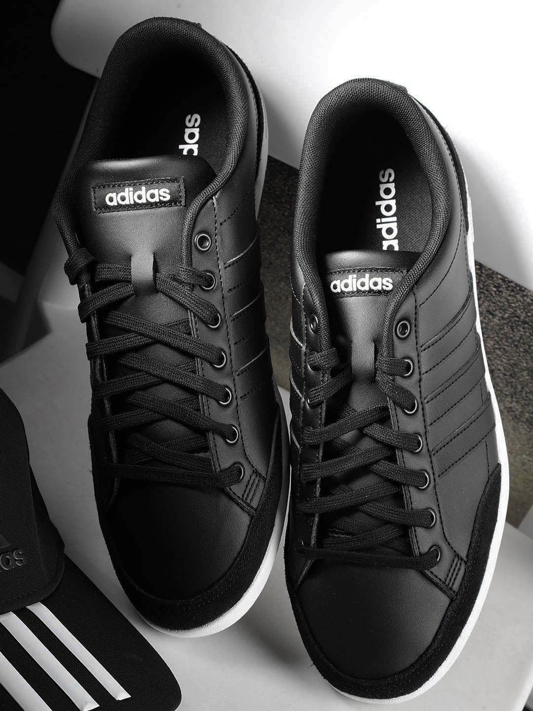 674e263453bae Adidas Black Leather Shoes - Buy Adidas Black Leather Shoes online in India