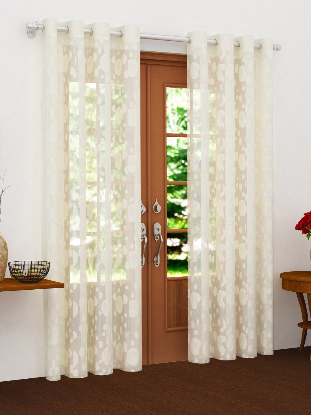 Story@home Off White Sheer Set Of 2 Door Curtains