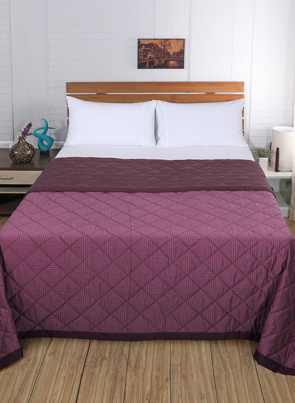 Maspar Purple Checked Mild Winter 110 Gsm Double Bed Quilt