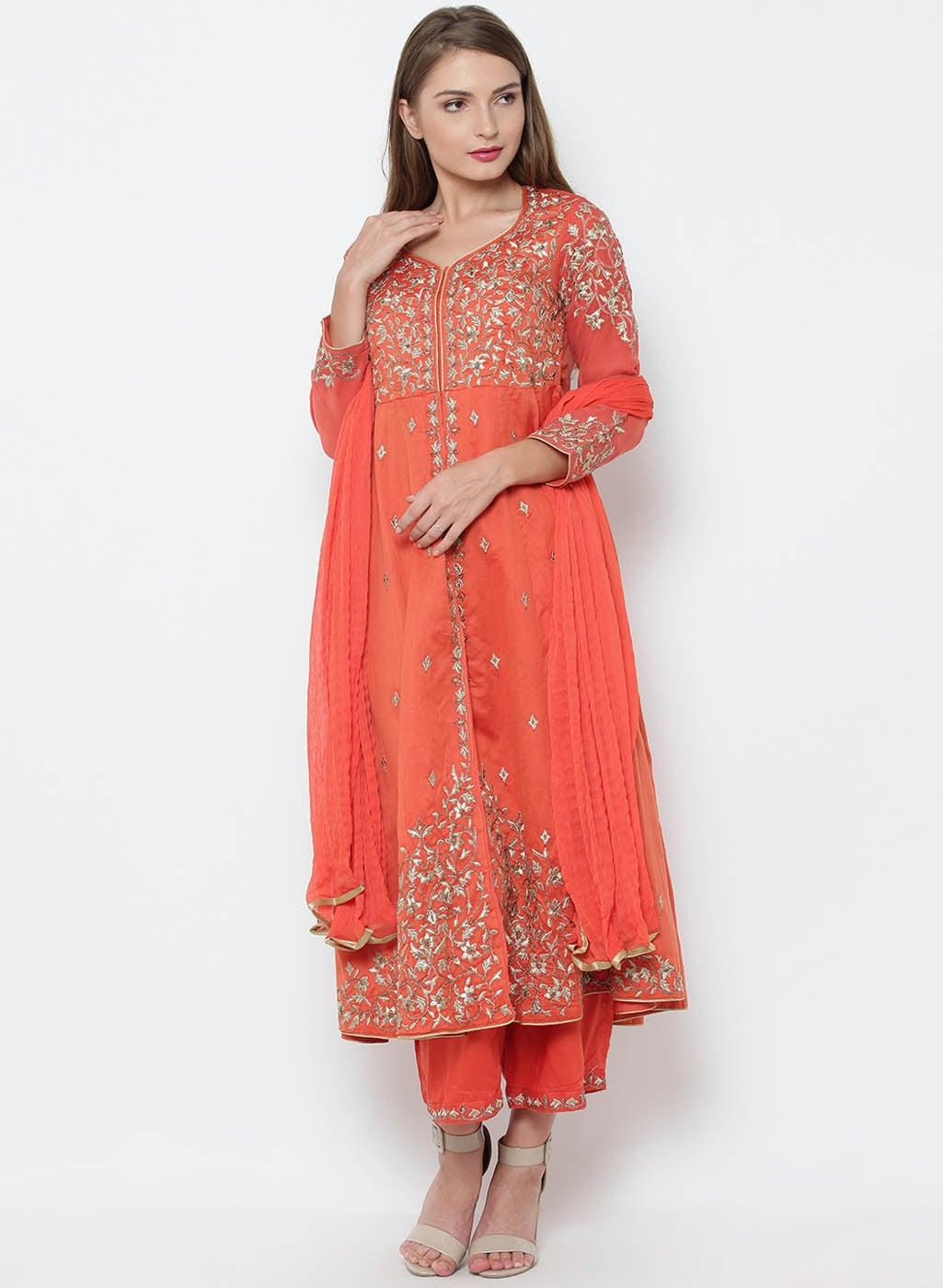 Ihram Kids For Sale Dubai: Orange Women Suit Sets Salwar Kameez Dupatta
