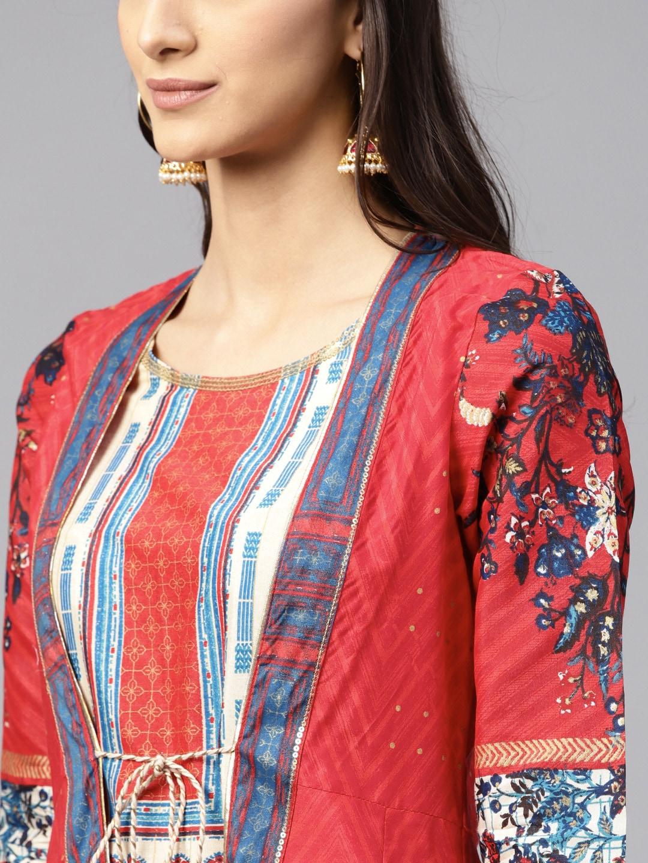 W Women Red & Beige Printed Layered A-Line Kurta