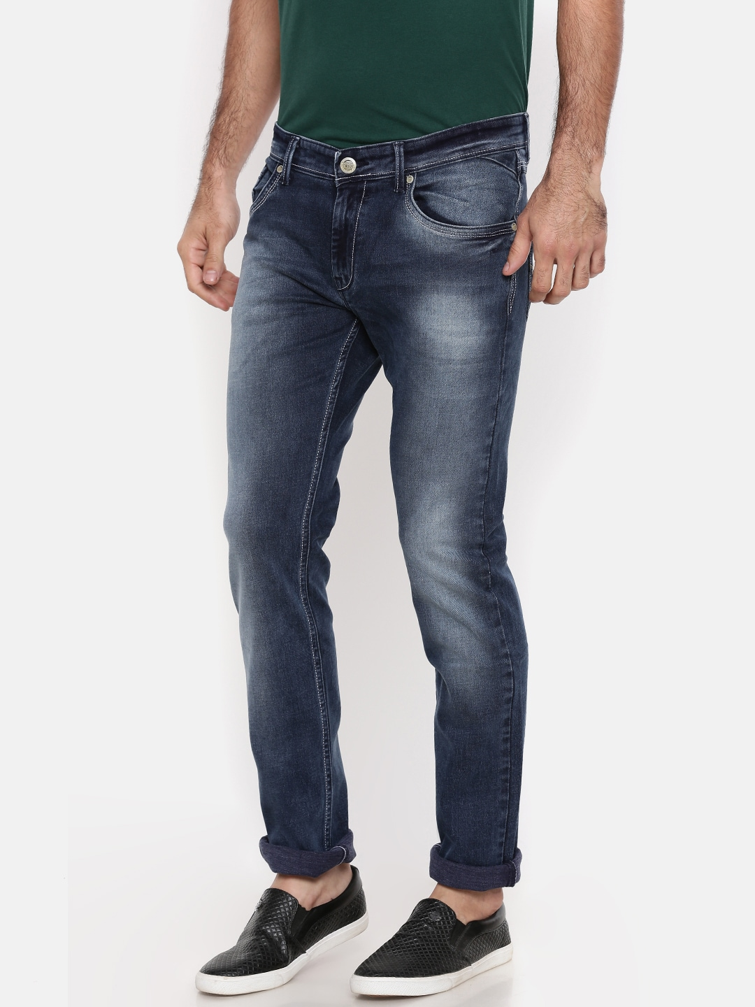 Oxemberg Men Blue Slim Fit Mid-Rise Clean Look Stretchable Jeans