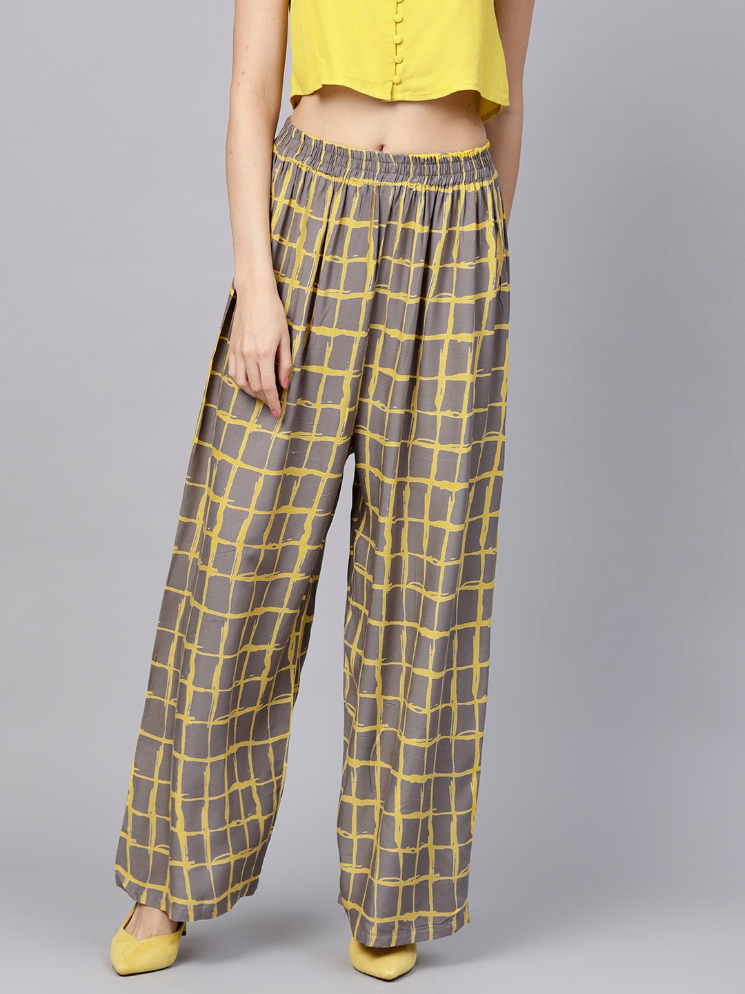 Nayo Women Grey   Yellow Checked Straight Palazzos d9489e8f3