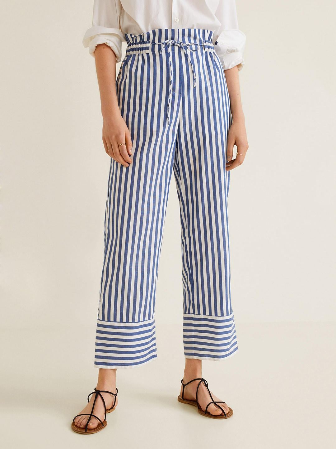 Discover half off shop for MANGO Women White & Blue Regular Fit Striped Trousers