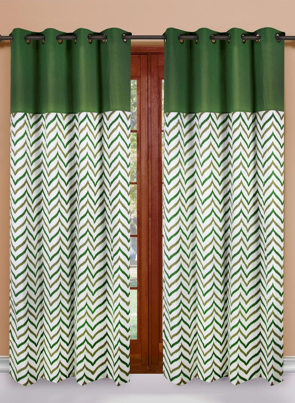 Dekor World Lime Green Set Of 2 Abstract Door Curtains