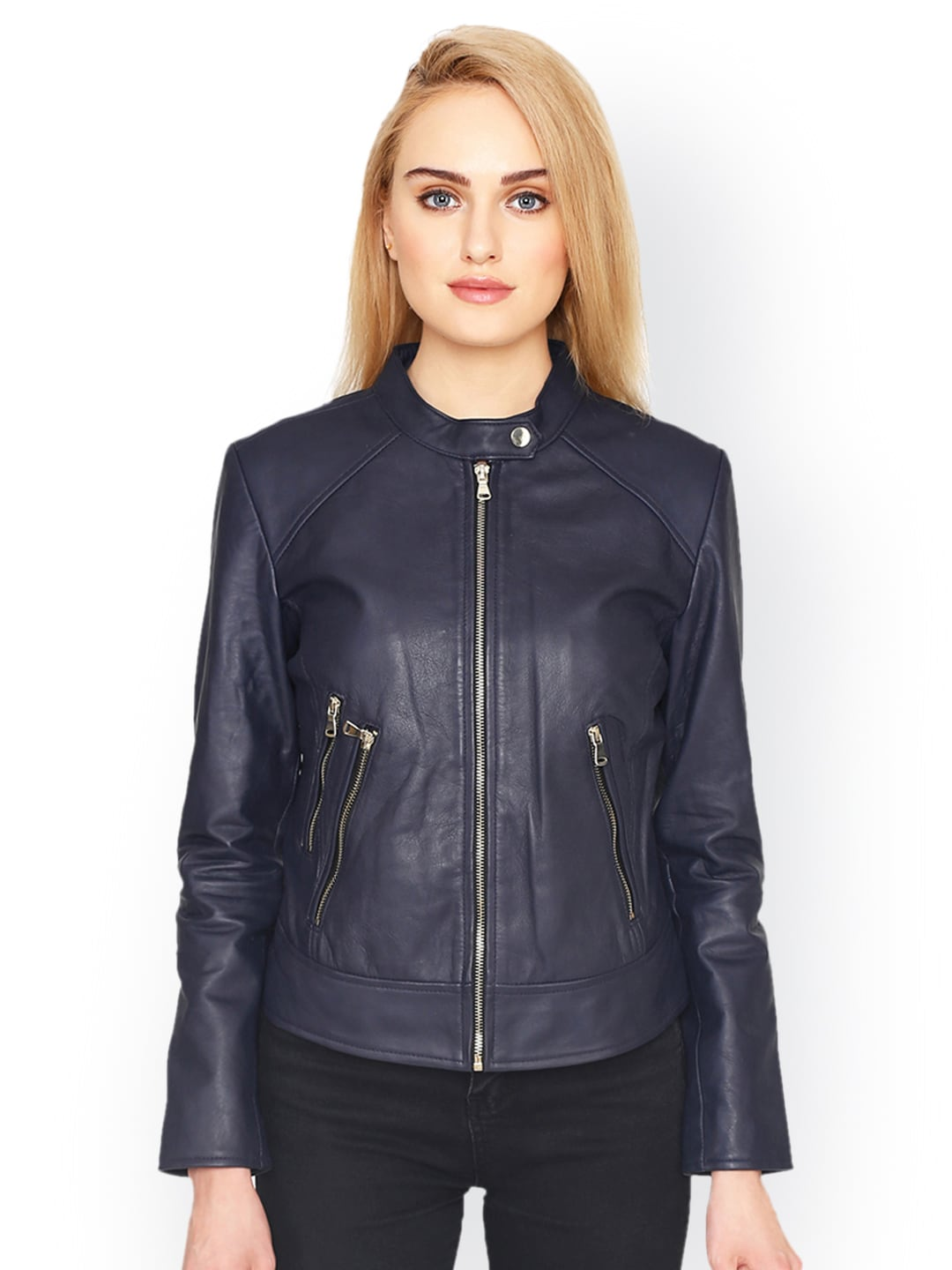 2f7df1b655a Blue Leather Jacket - Buy Blue Leather Jacket online in India