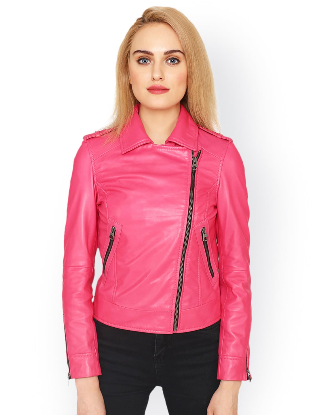 marketable free shipping select for original Justanned Women Pink Leather Jacket