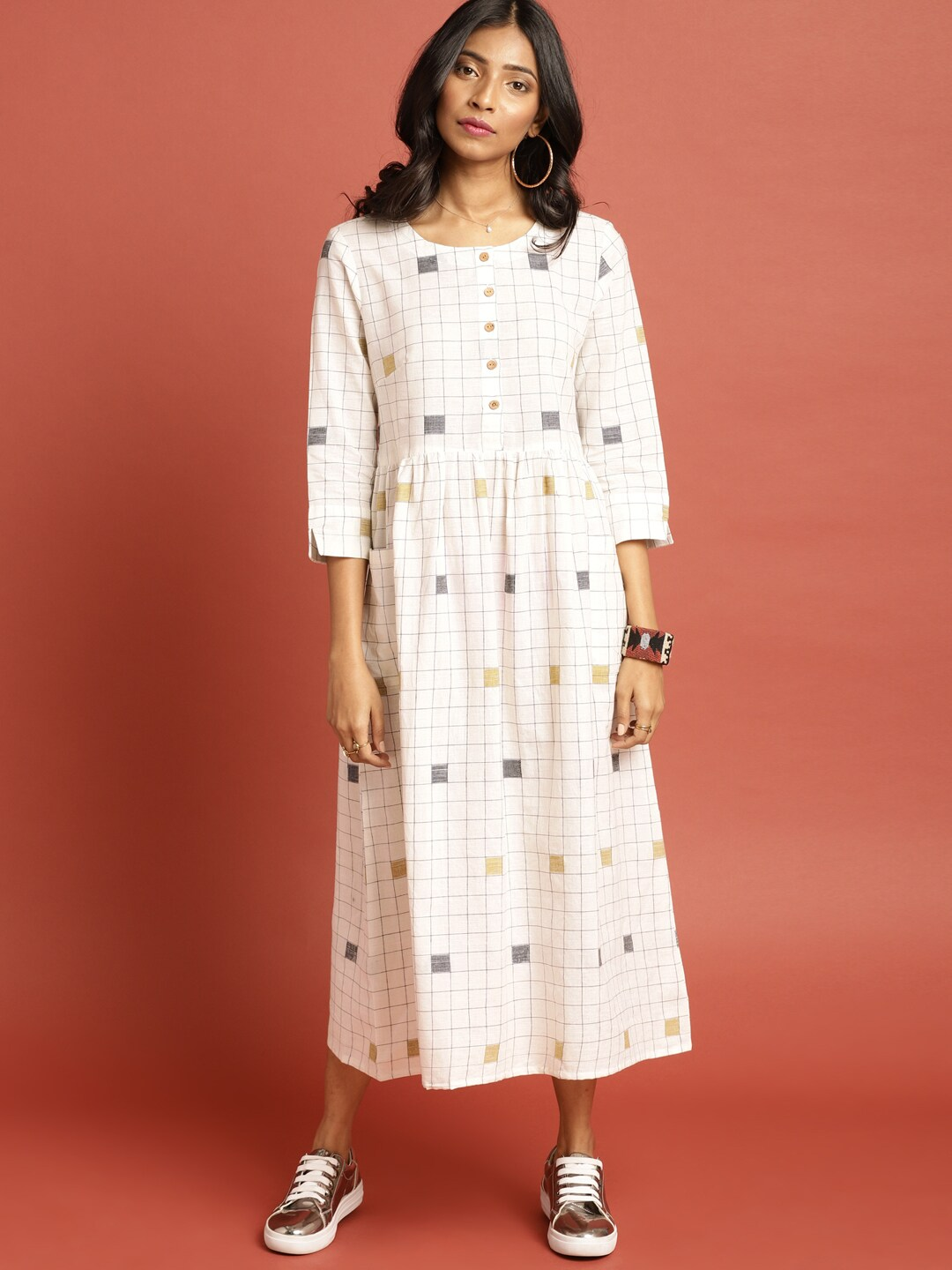 57611d09f12 White Black Checked Dresses - Buy White Black Checked Dresses online in  India