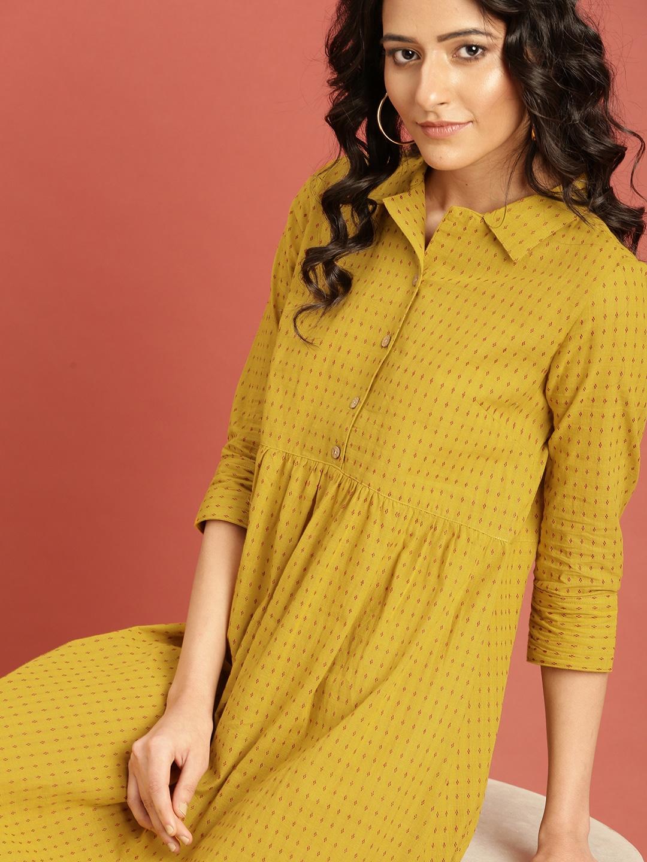Taavi Women Mustard Self Design Empire Sustainable Dress