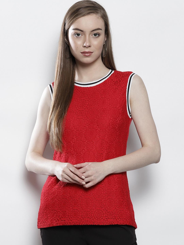e6060e47b8fdc DOROTHY PERKINS Women Red Lace Top