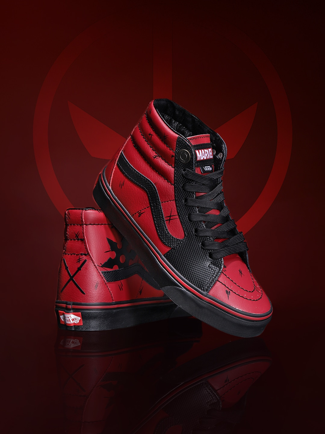 Vans Unisex Maroon & Black Marvel Deadpool Mid-Top Leather Sneakers