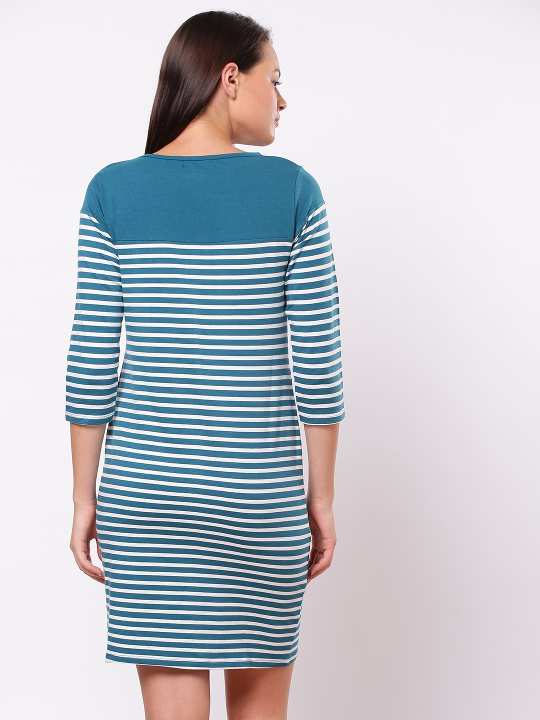 ether Women Teal Green & White Striped T-shirt Dress