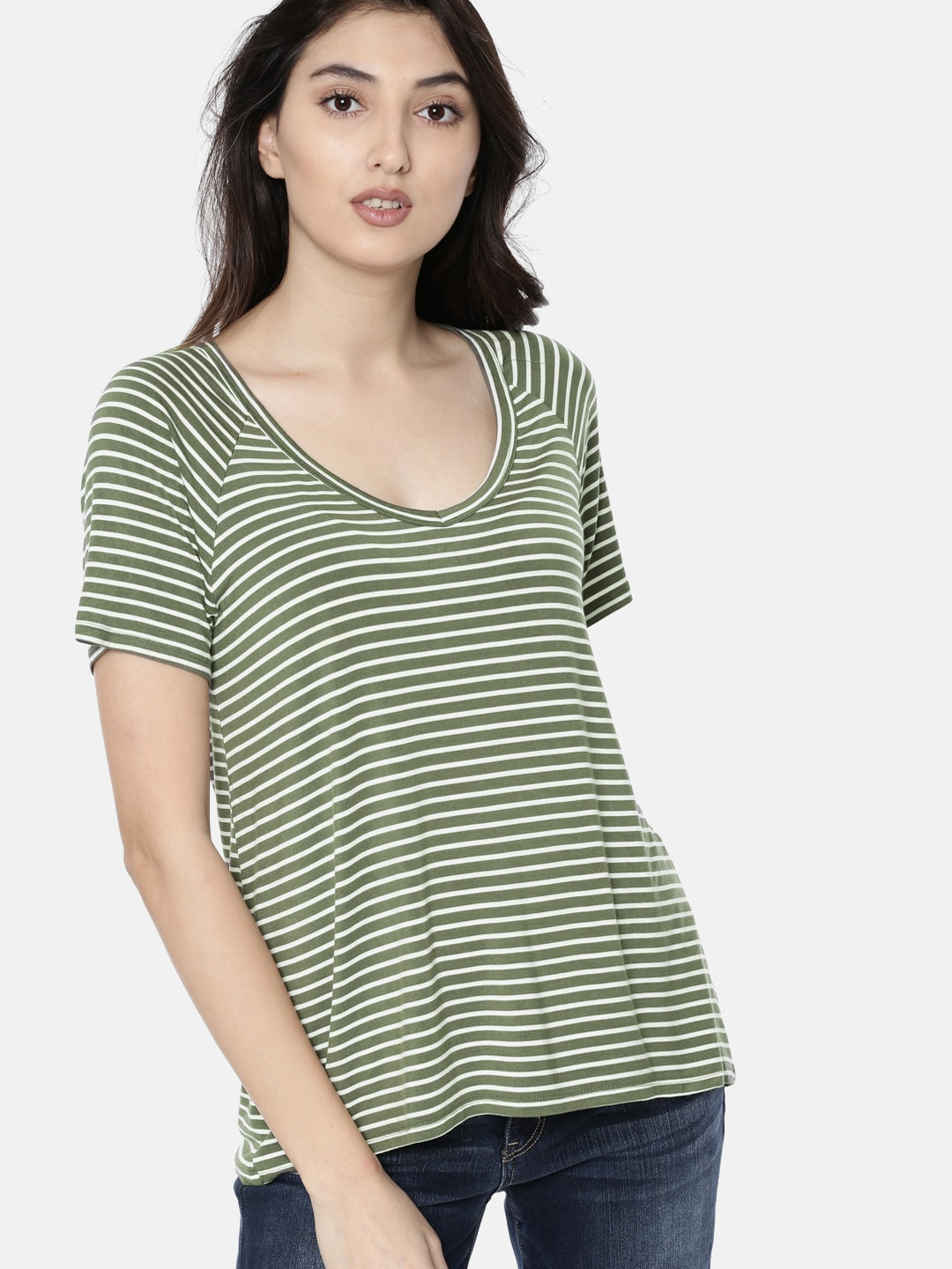 ef06a9dd AMERICAN EAGLE OUTFITTERS Women Olive Green & White Striped V-Neck T-shirt