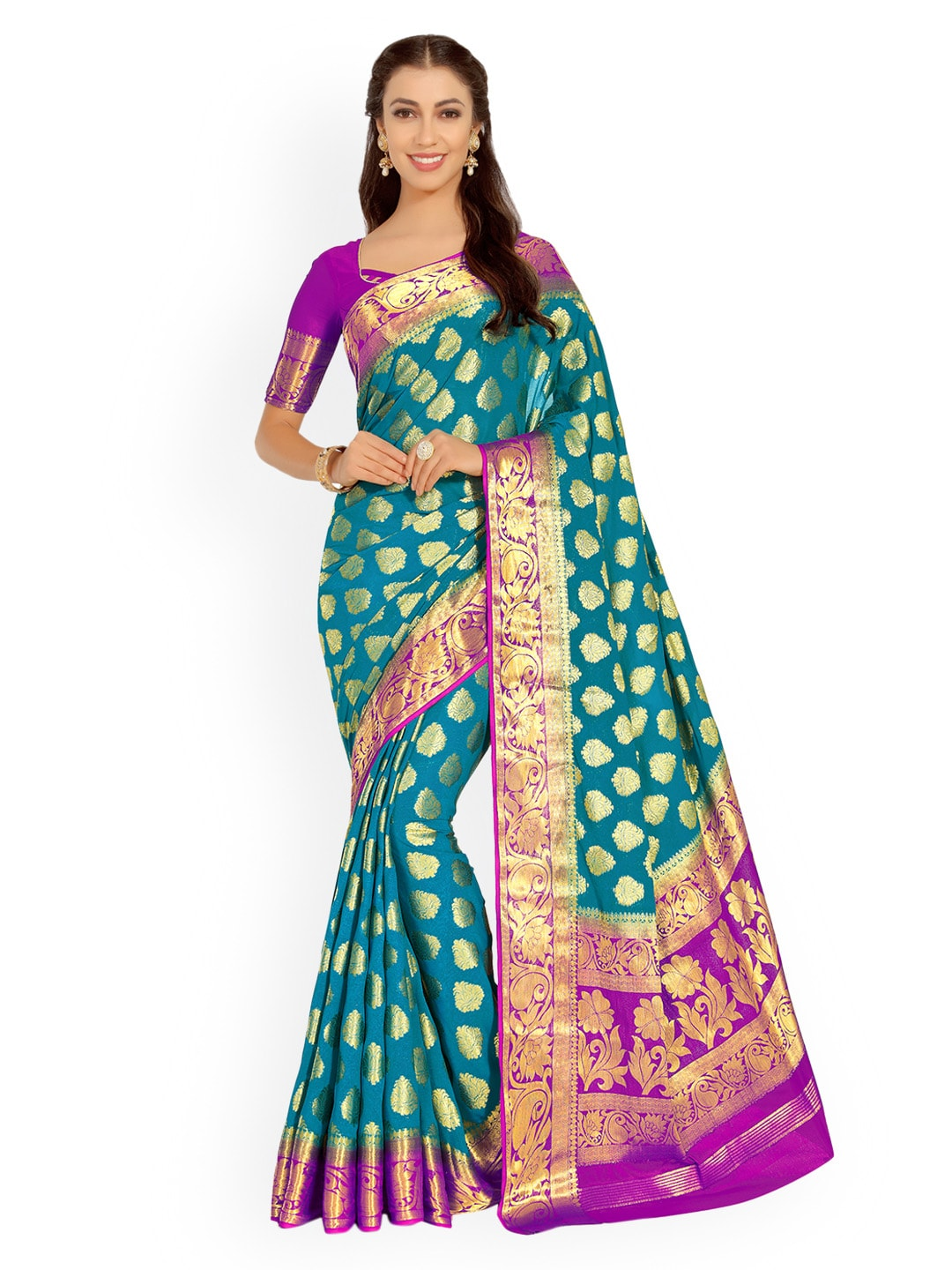 6e3a9c4d81d3 Turquoise Blue Traditional Saree - Buy Turquoise Blue Traditional Saree  online in India