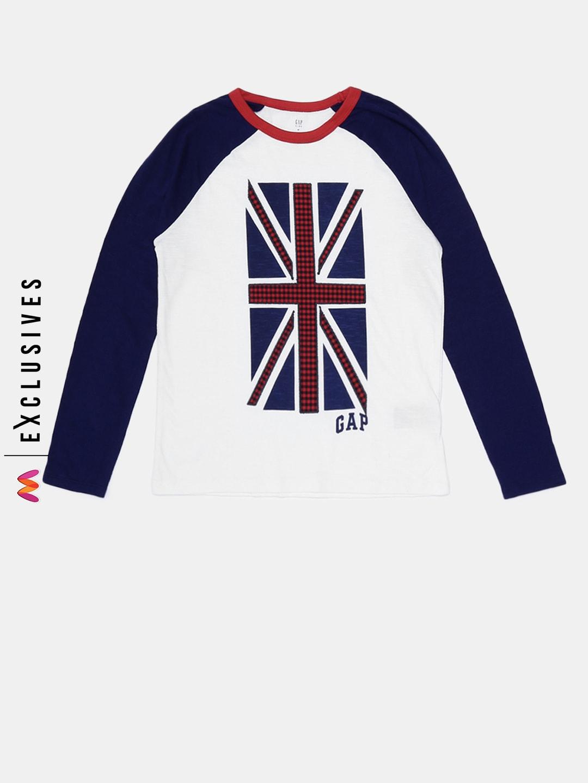 ea18849c GAP Boys' White & Navy Blue Logo Graphic Raglan T-Shirt