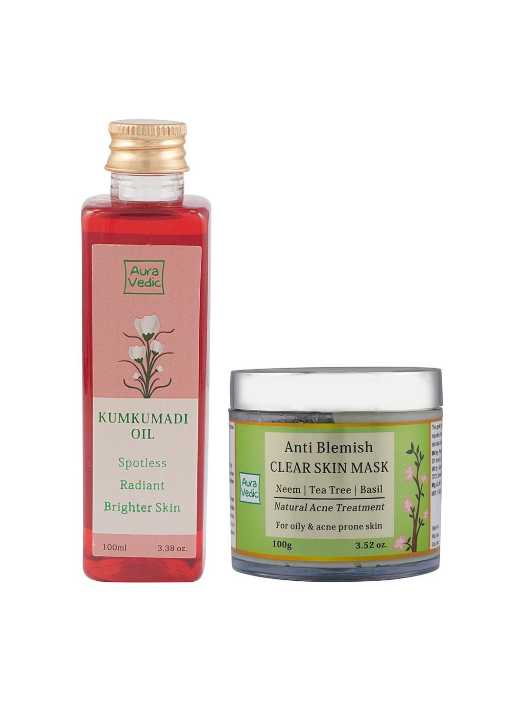 Auravedic Unisex Kunkumadi Oil & Anti-Blemish Clear Skin Mask