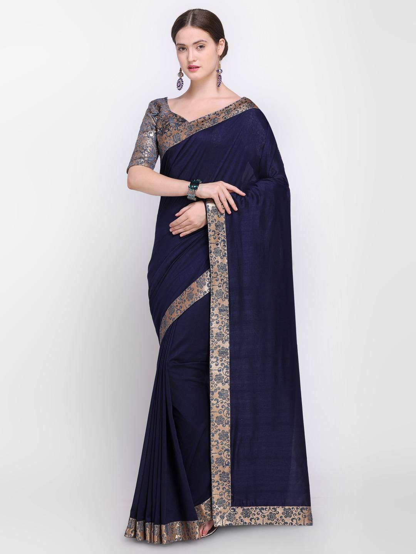 93229c1132de8 Navy Blue Sarees - Buy Navy Blue Sarees Online - Myntra