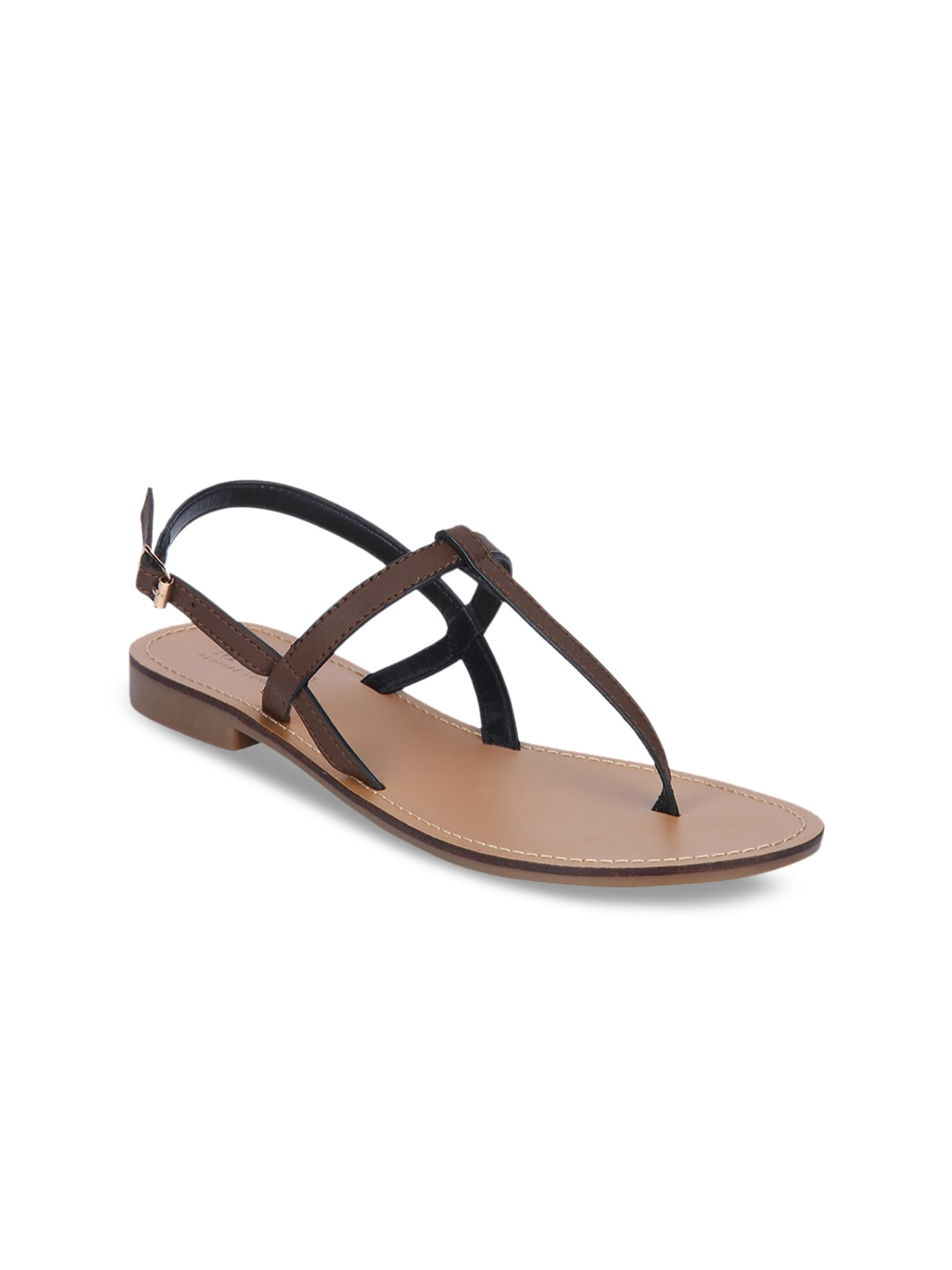 0a2bdaa6716 Mode by Red Tape Women Brown Solid Synthetic Open Toe Flats