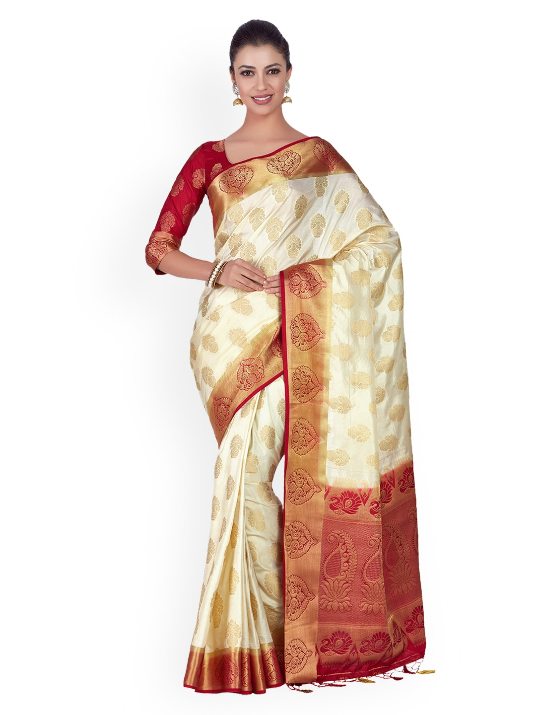 0015fd34a30 White Red Traditional Sarees - Buy White Red Traditional Sarees online in  India