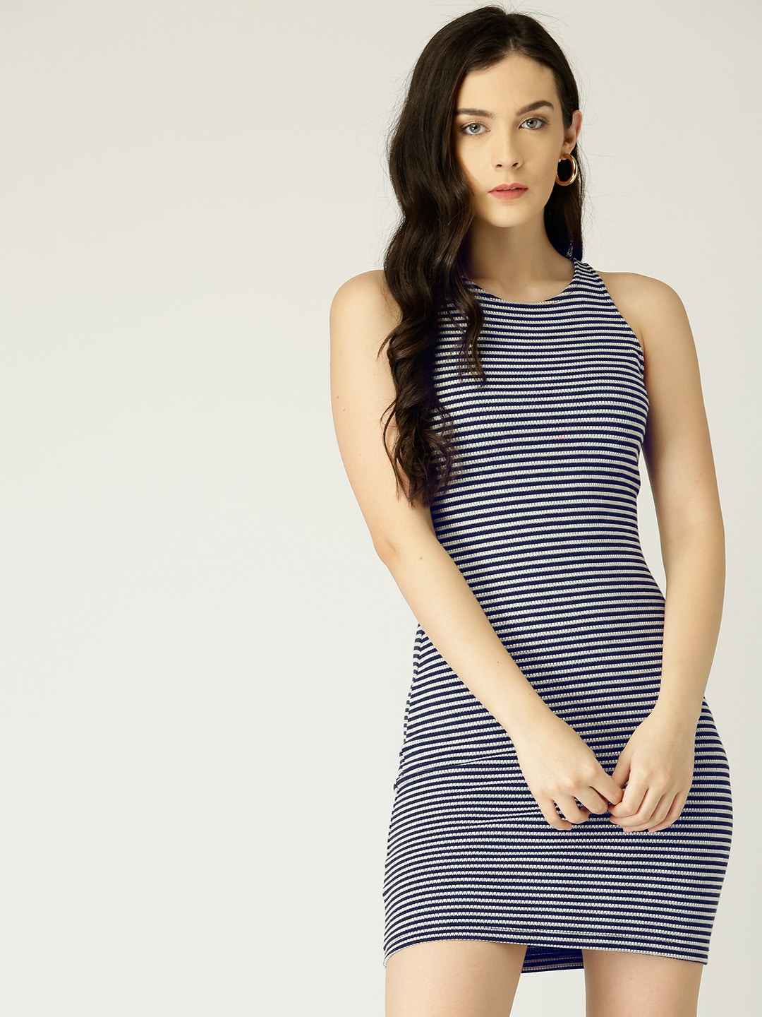 6f6bcbc93109 Navy Blue Coloured Striped Shift Dress