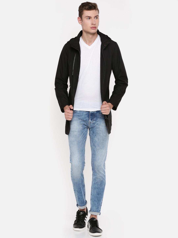 Killer Men Black Lean Fit Solid Longline Hooded Tailored Jacket