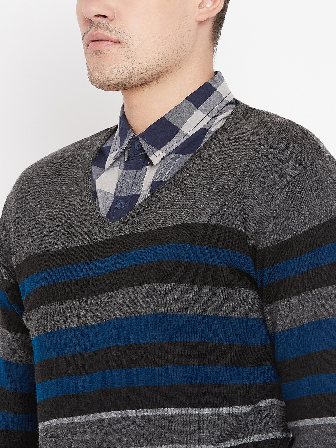 Peter England Men Charcoal Grey & Teal Blue Striped Sweater