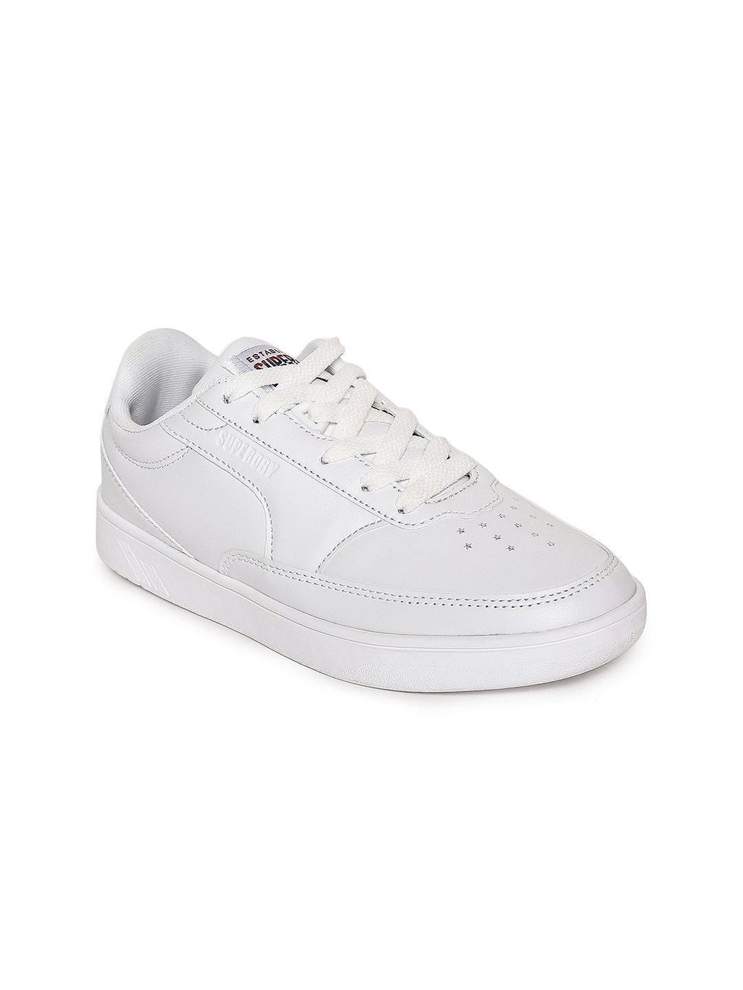 New Womens Superdry White Harper Synthetic Trainers Court Lace Up Sneaker Damenschuhe
