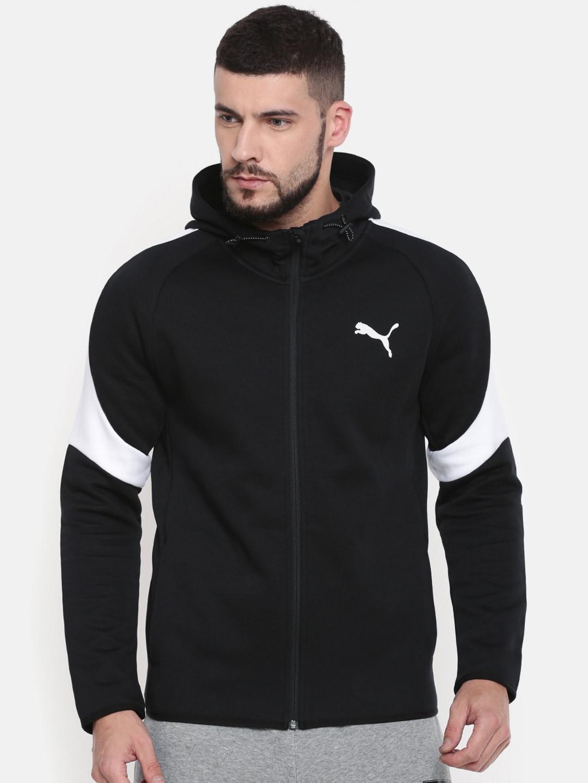 08ac292b Puma Black Slim Fit Evostripe Core FZ Hooded Sporty Jacket