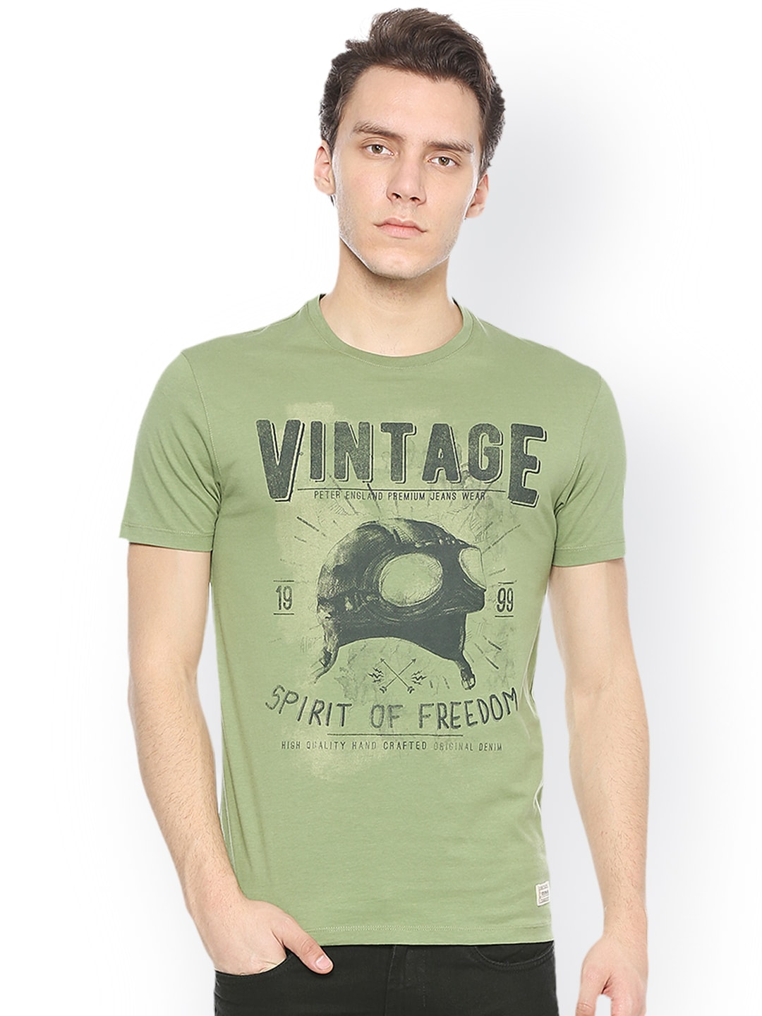 Peter England Casuals Men Olive Green Printed Round Neck T-shirt