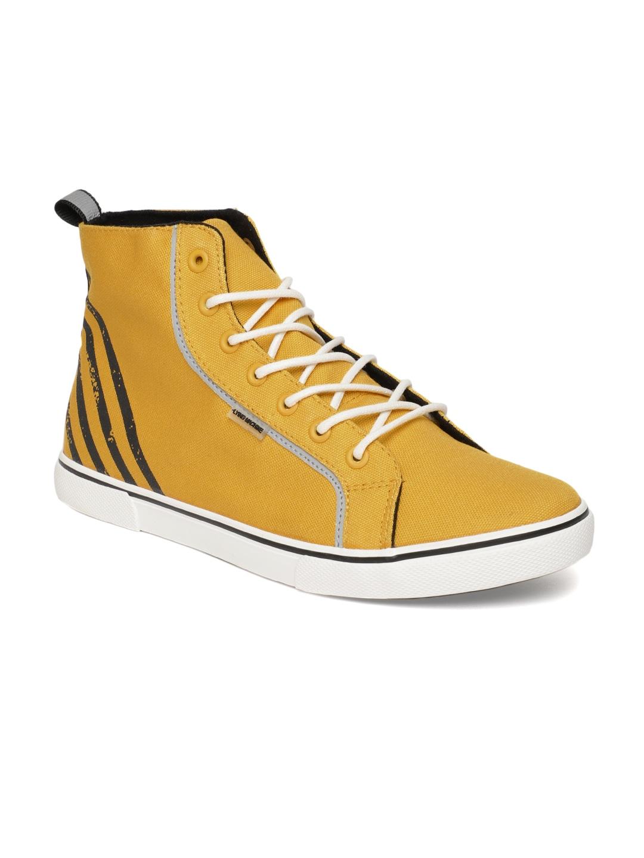 78966b87e98 Flying Machine Men Yellow Mid-Top Sneakers