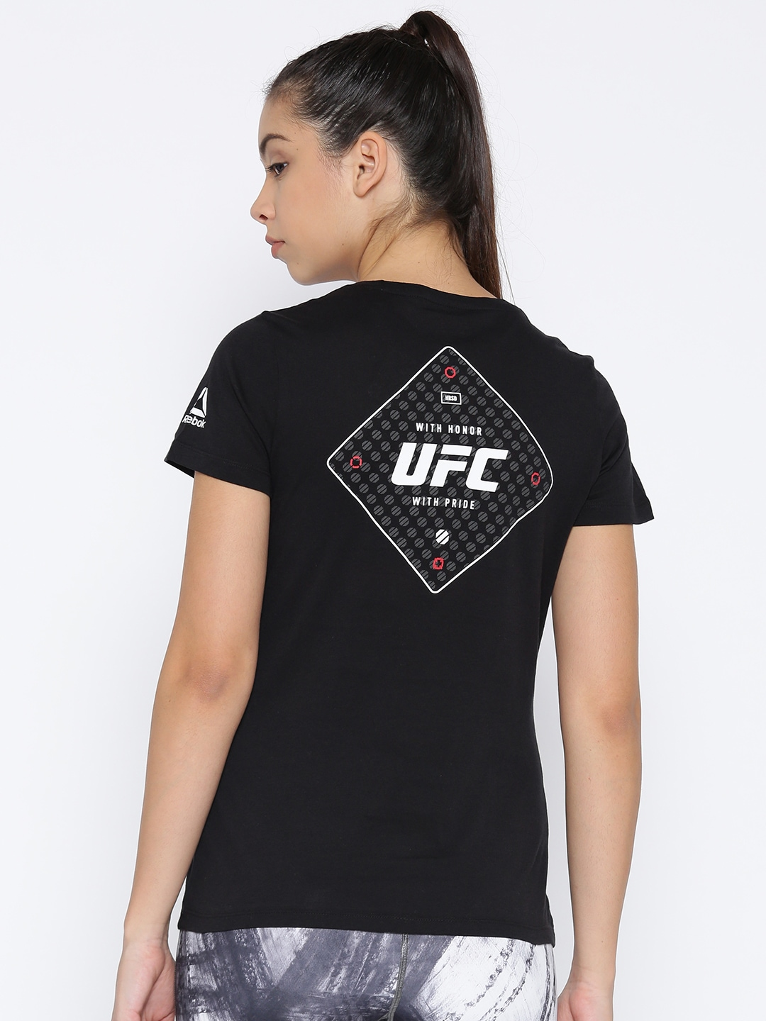 ed1b3dae Reebok Women Black UFC Fight Gear Logo Combat T-shirt