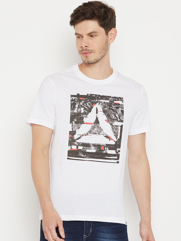 ef60712b87 Reebok White & Black GS Glitch Delta Printed Training T-shirt